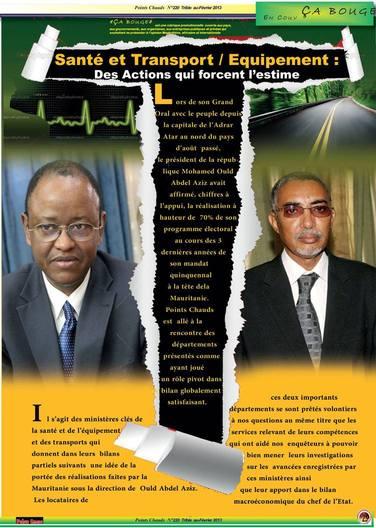 En Mauritanie : Santé et Equipement/Transport  :Des Actions qui forcent l'estime